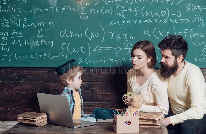 Family concept. Family support. Family relax during break in school classroom. Family and school. A bright future begins royalty free stock photos