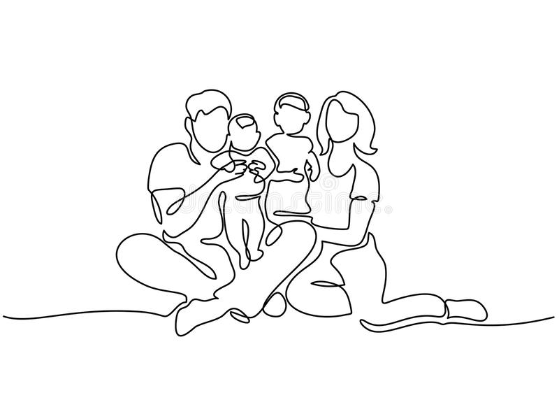 Family concept Father, mother and kids sitting. Continuous one line drawing. Family concept. Father, mother and two kids sitting together. Vector illustration royalty free illustration