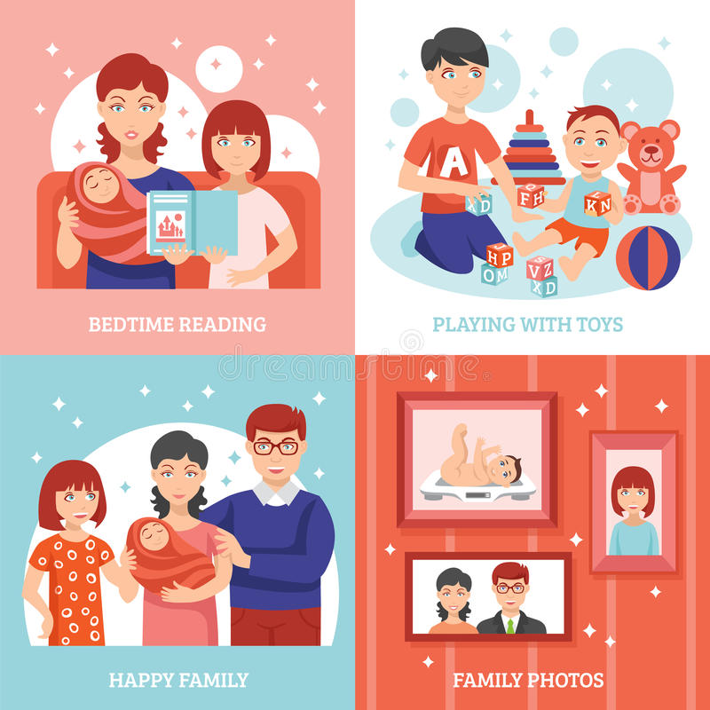 Family Concept Icons Set royalty free illustration