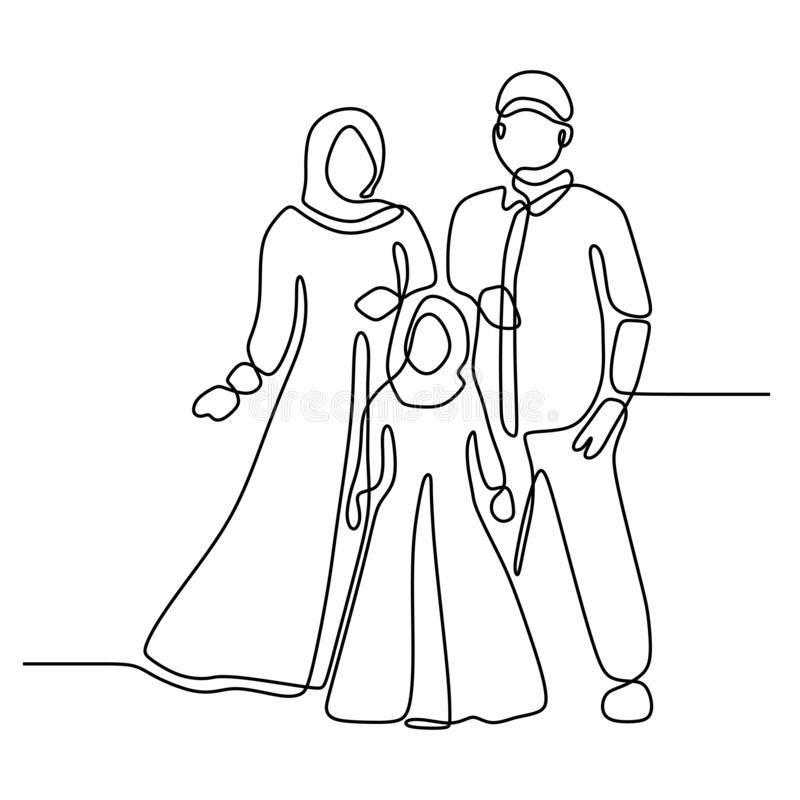 Family concept one continuous line drawing minimalist design isolated on white background parenting theme. Vector, people, illustration, life, sketch, doodle stock illustration