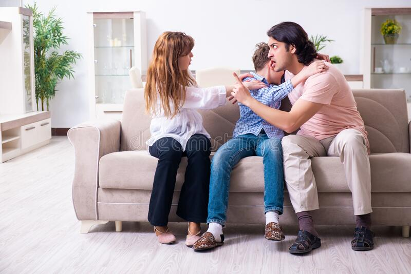 Family conflict with husband and wife and child. The family conflict with husband and wife and child stock photography