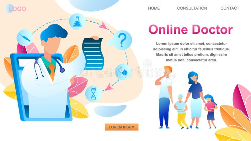Family Consultation Online Doctor Using Tablet vector illustration
