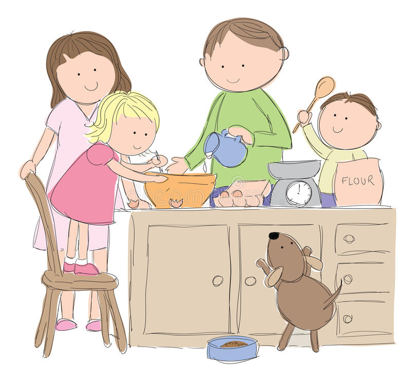 Family cooking. Hand drawn picture of a family cooking in the kitchen, illustrated in a loose style. Mom and dad with their son and daughter. Vector eps