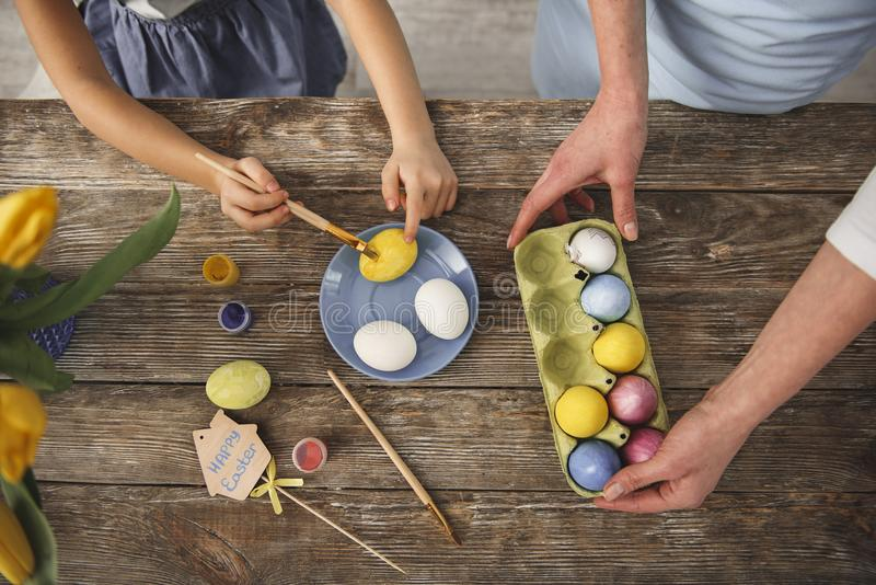 Family cooking for holiday on wooden table. Top view close up of adult and kid hands changing eggs color. Child is holding brush royalty free stock images