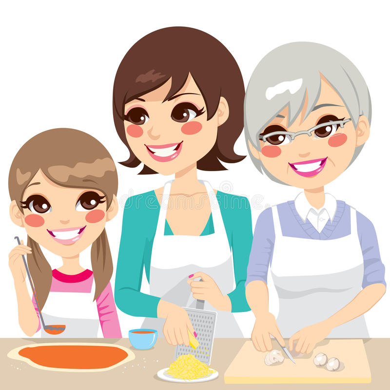 Free Family Cooking Pizza Together Stock Image - 35928451