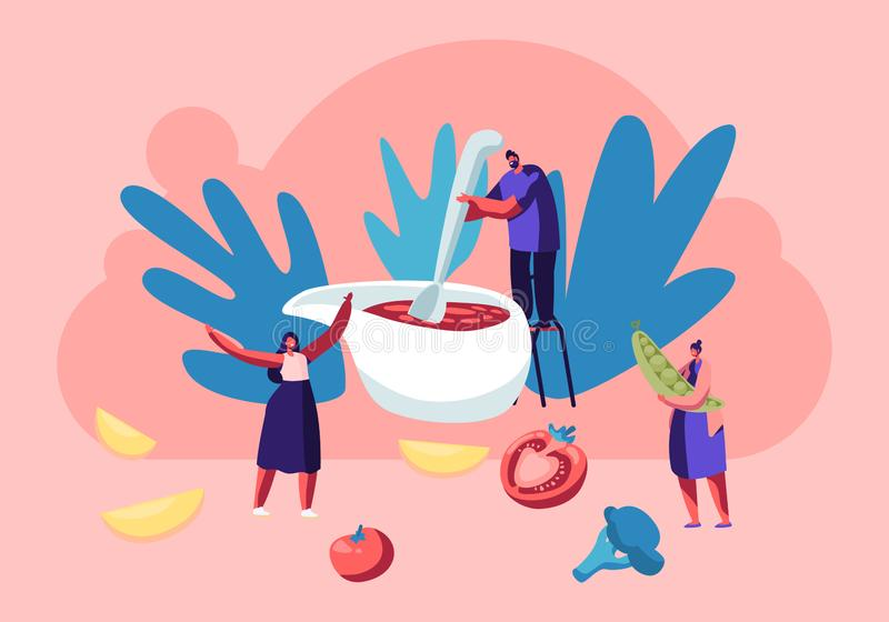 Family Cooking Process, Tiny Male Character Stand on Chair Mixing Tomato Sauce with Huge Spoon in Gravy Boat Prepare Festive Dish royalty free illustration