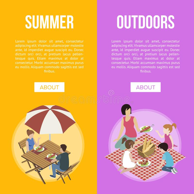 Family and couple on barbecue vector illustration