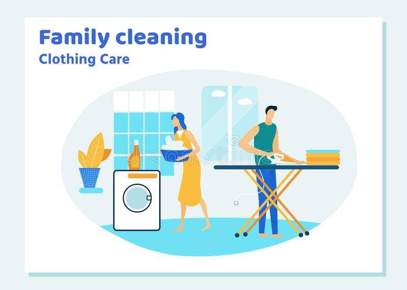 Family Couple Characters Cleaning House on Weekend royalty free illustration