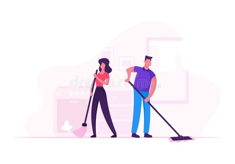 Family Couple Doing Household Housekeeping Activity and Everyday Routine of Home Duties and Chores vector illustration