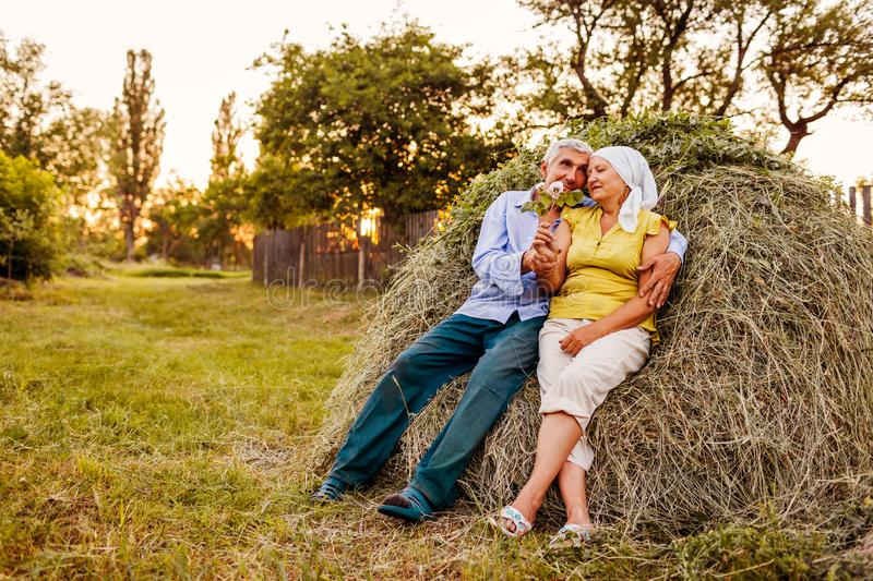 Family couple of farmers sitting on haystack and relaxing at sunset in countryside. Hard-working people hugging royalty free stock image