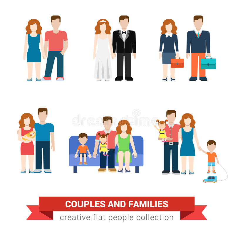 Family couple flat style people newlyweds parenting parents children kids son daughter wife husband boy girl infant infographics vector illustration