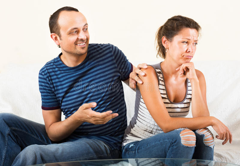 Family couple having serious conversation royalty free stock photos