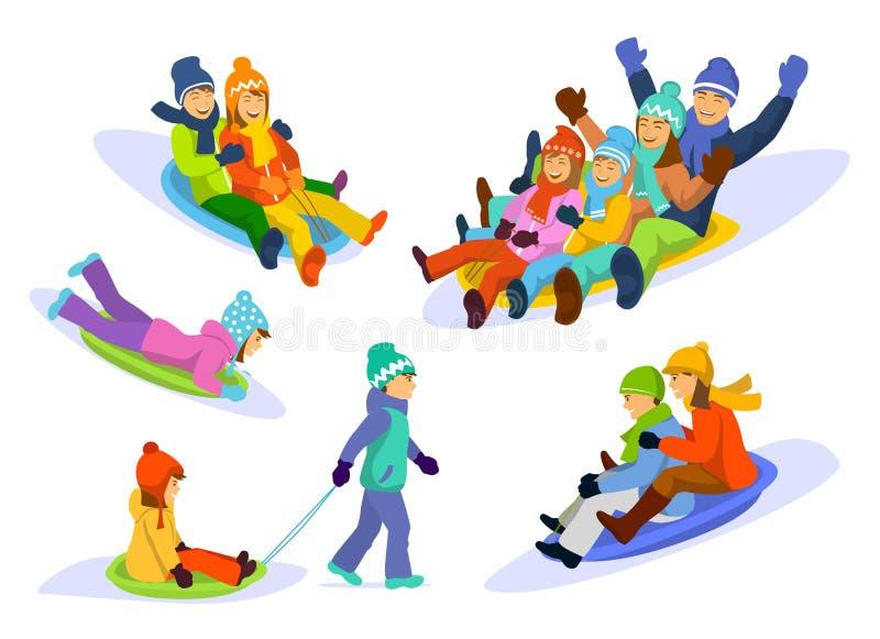 Family, couple, man, woman, children, girl, boy sledding snow downhill set vector illustration