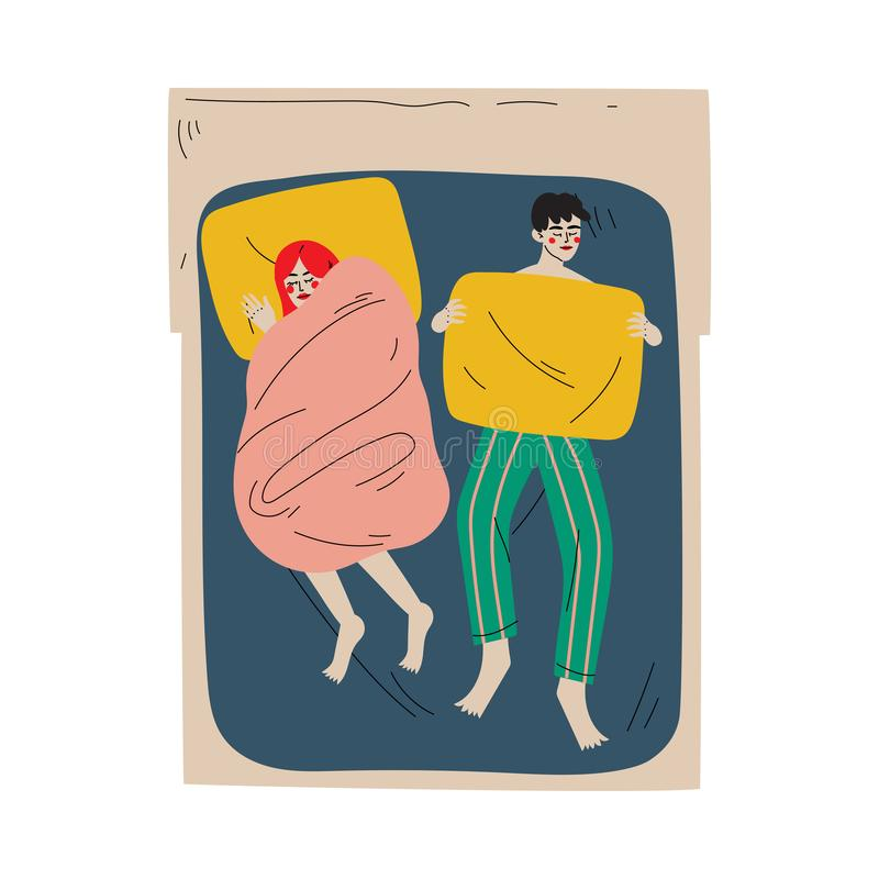 Family Couple Sleeping Together in Double Bed at Night, View From Above Vector Illustration royalty free illustration