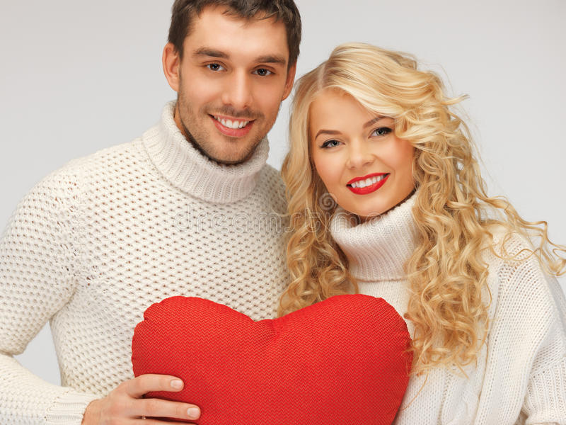 Download Family Couple In A Sweaters With Heart Stock Image - Image of handsome, family: 27932595