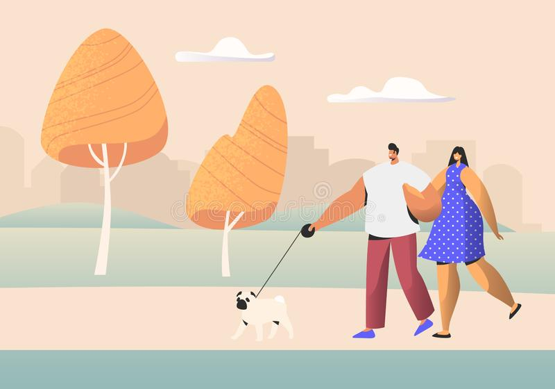 Family Couple of Young People Characters Walking with Pet in Public City Park at Summer Time. Man and Woman Walk with Dog vector illustration