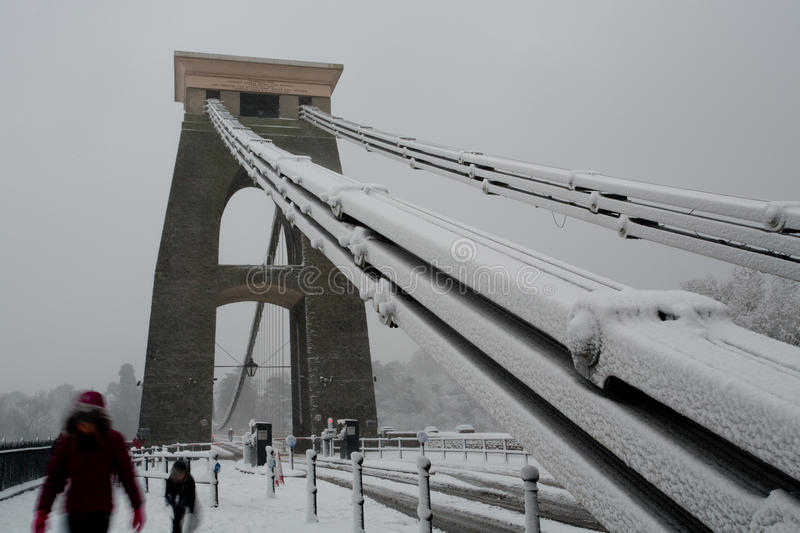 Download Family Crossing Clifton Suspension Bridge In The Snow Editorial Photography - Image: 28713202