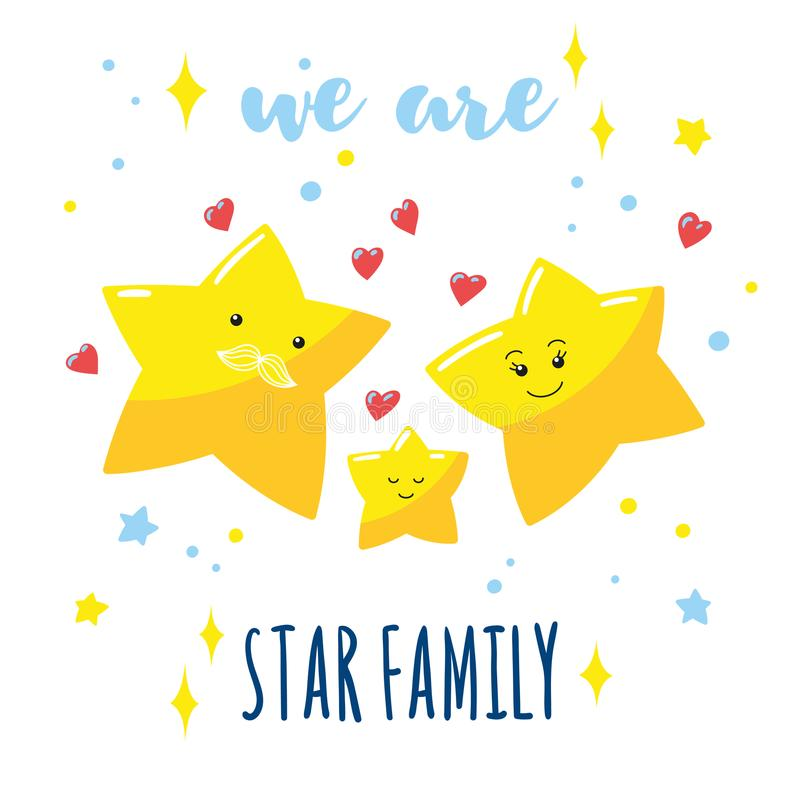 Family of cute stars in the sky and a hand-written inscription. Cartoon dad, mom and their baby. vector illustration