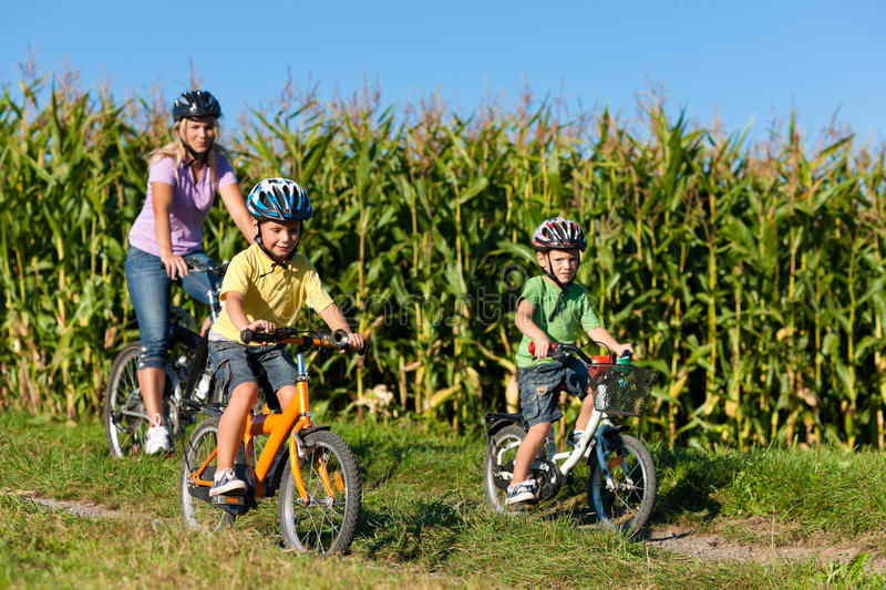 Family is cycling in summer. Father, mother and two sons stock images