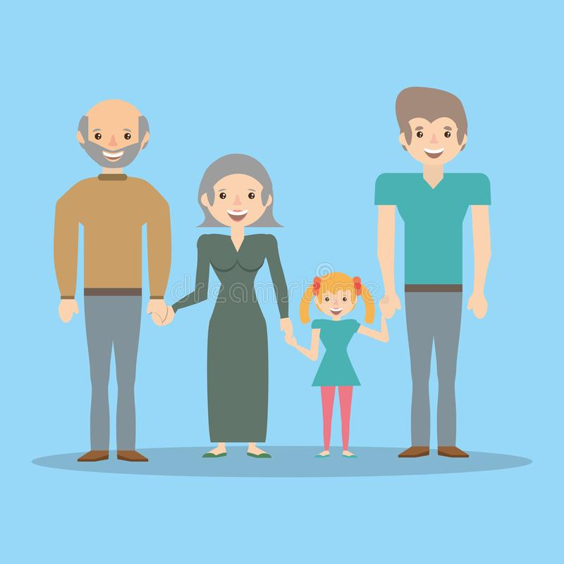 Family dad with grandparents and girl. Vector illustration eps 10 royalty free illustration