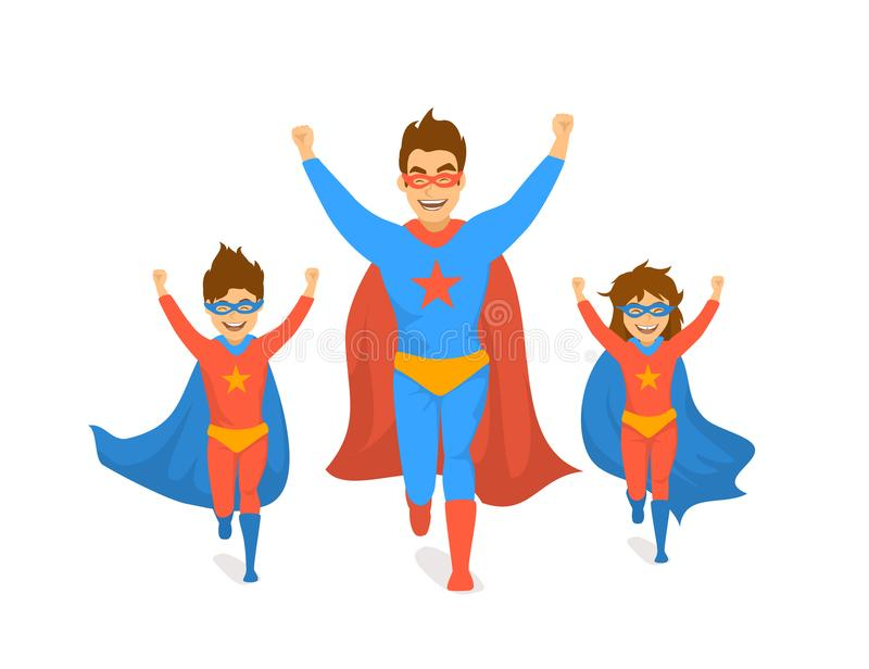 Family, dad and kids, cute boy and girl playing superheroes, running excited in super hero costumes front view fun humor fathers d. Ay concept isolated vector vector illustration