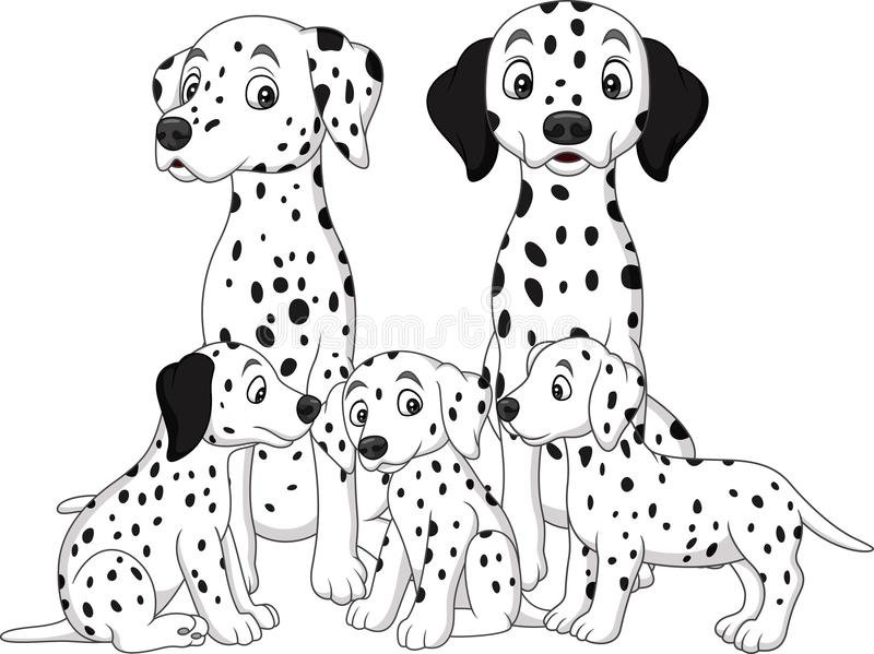 Family of Dalmatian dogs. Illustration of Family of Dalmatian dogs royalty free illustration