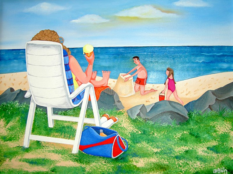Family Day at the Beach vector illustration