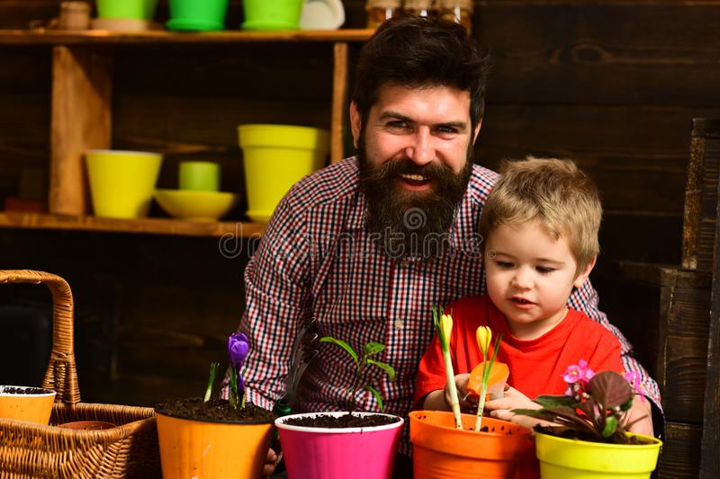 Family day. Greenhouse. bearded man and little boy child love nature. Father and son. Fathers day. happy gardeners with stock photos