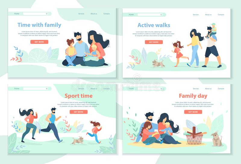 Family Day, Leisure, Sport Time, Active Walks stock illustration