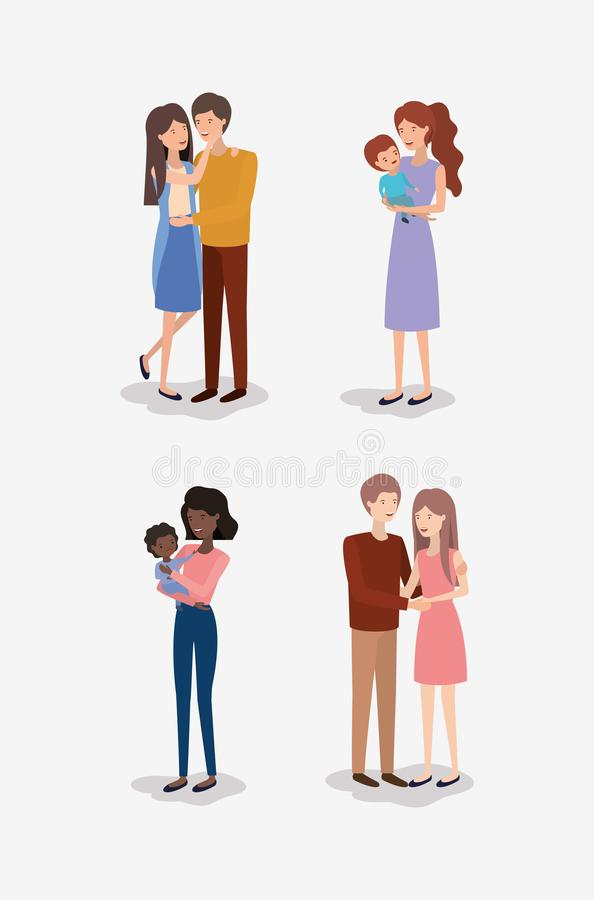 Family day members characters. Vector illustration design vector illustration