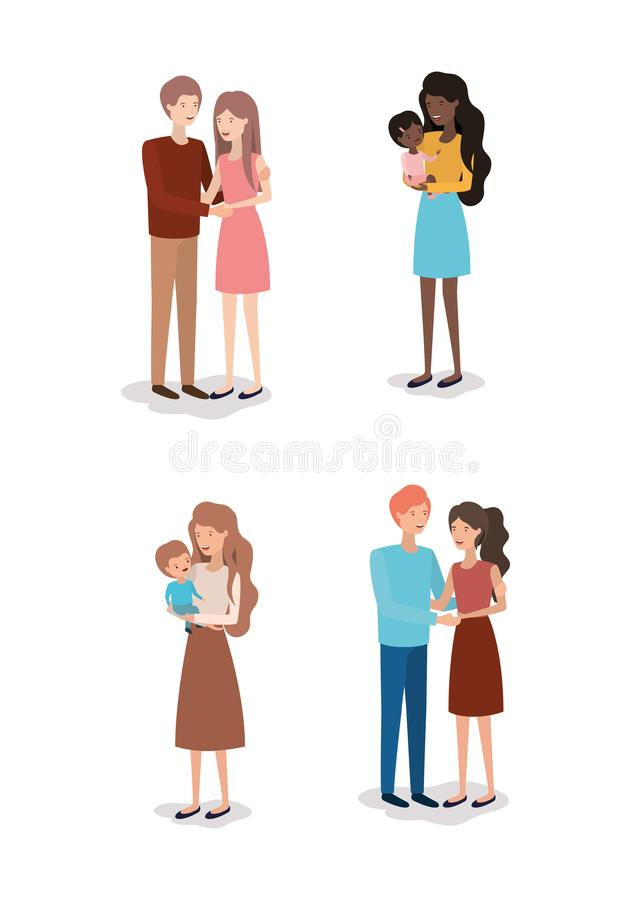 Family day members characters. Vector illustration design stock illustration