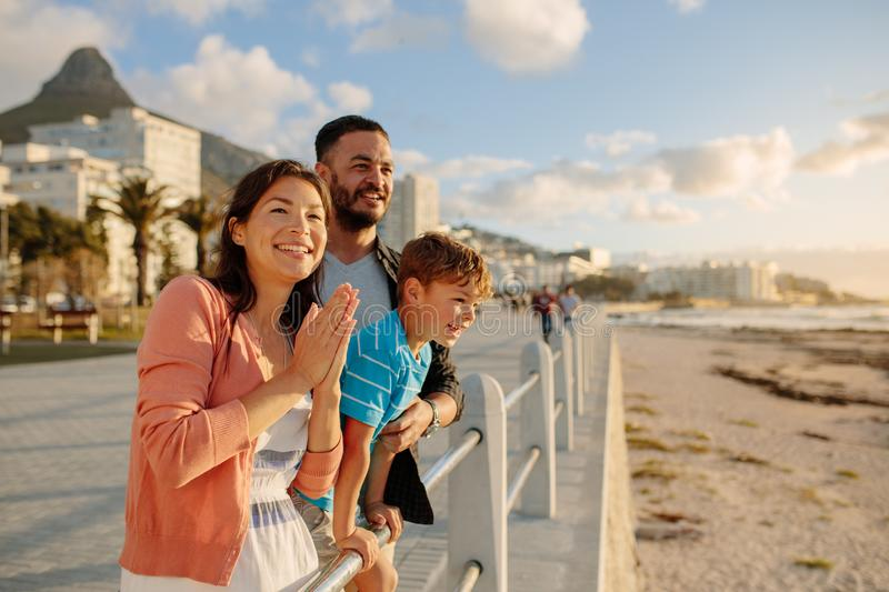 Family on a day out near the sea royalty free stock image