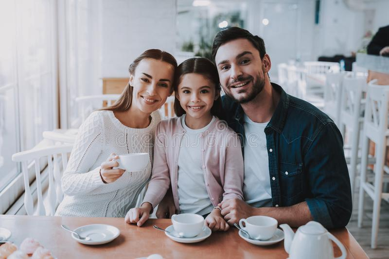 Family Day. Tea Time. Mom. Dad and Daughter. Cute. royalty free stock photos