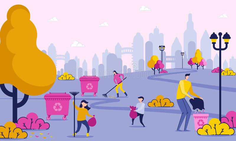 Family Days Off is Cleaning up Trash in Park. stock illustration