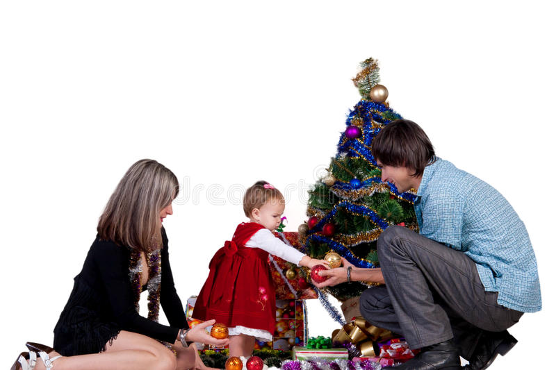 Download Family Decorating Christmas Tree Royalty Free Stock Photos - Image: 26639218
