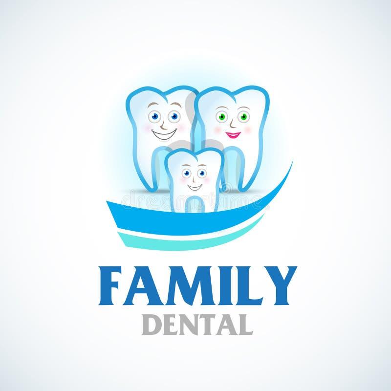 Family dental care. Dental logo. Tooth family smiling. Vector illustration. stock illustration
