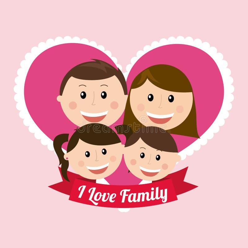 Family design. Over pink background, vector illustration royalty free illustration