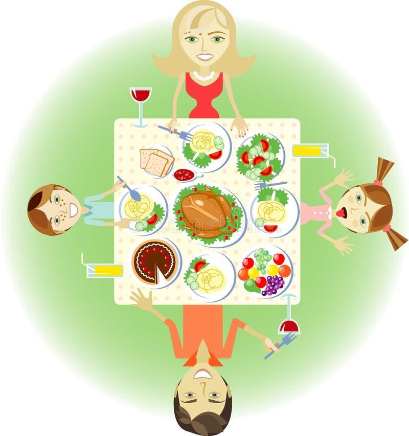 Family dinner royalty free illustration