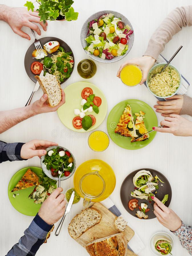 Family dinner from above stock photography