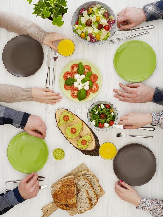Family dinner from above royalty free stock photo
