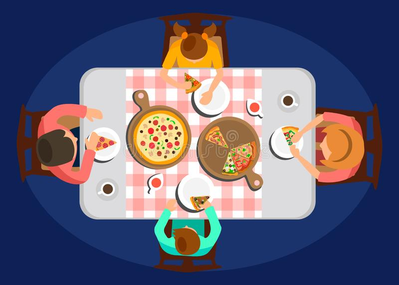 Family Dinner Top View Color Vector Illustration. Parents with Children Sitting at Table, Eating Meal. Margarita and Assorti Pizza on Wooden Board. Cartoon royalty free illustration