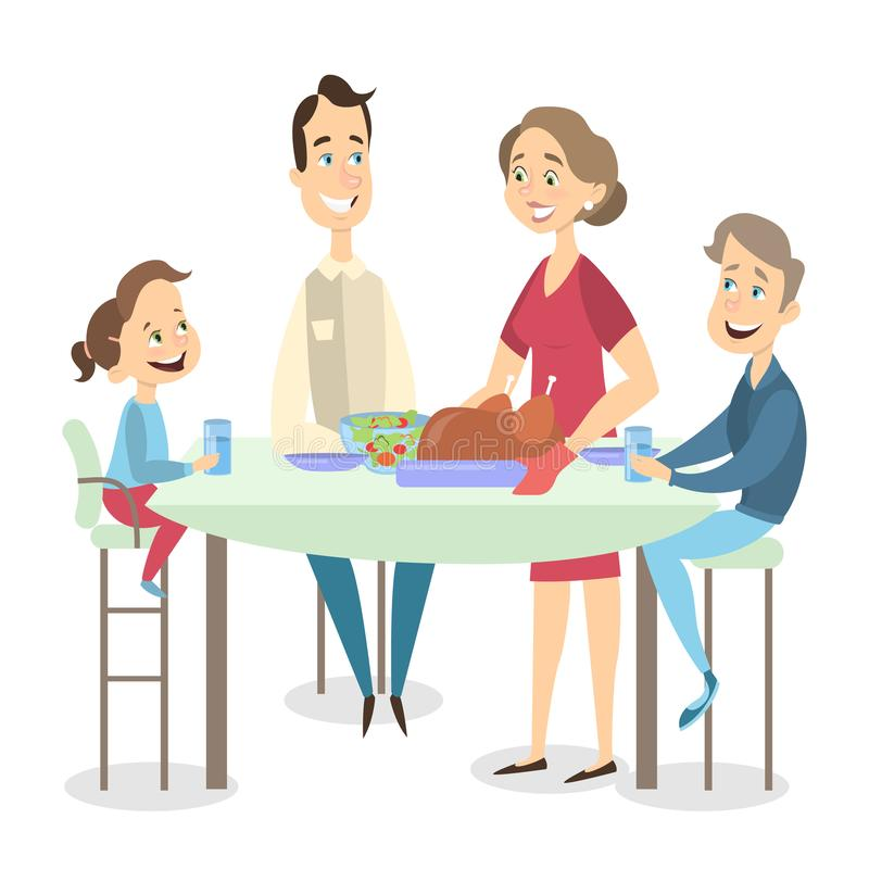 Family dinner with turkey. Family dinner with turkey dish at Thanksgiving day on white background royalty free illustration