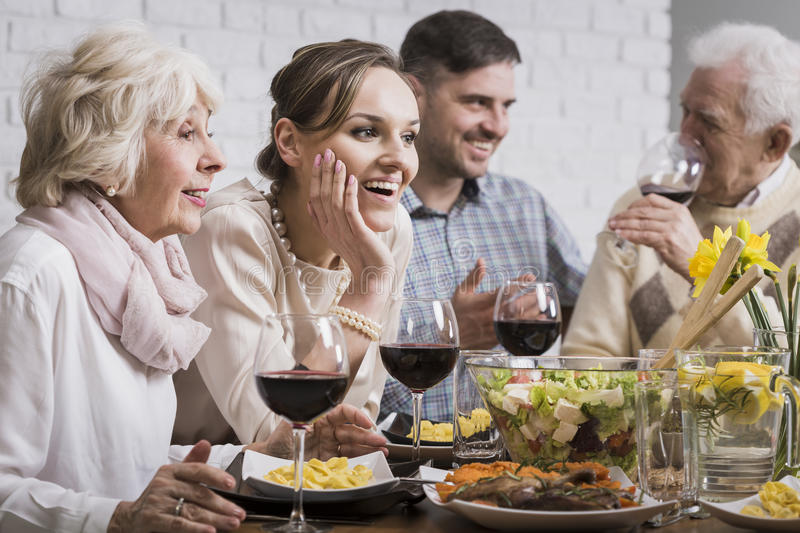 Family dinner with wine stock photos