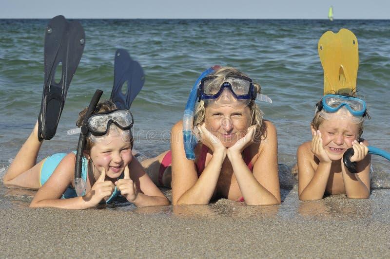 Family Diving stock photos
