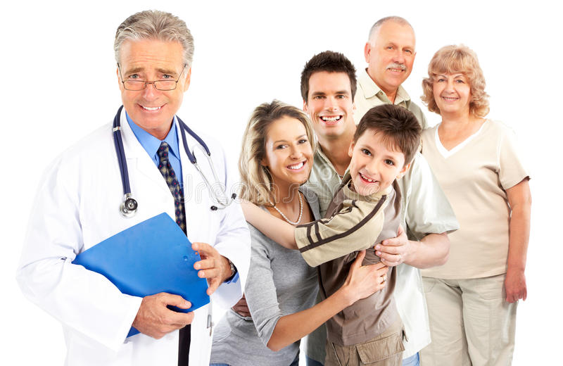 Family doctor. Smiling family medical doctor and young family. Over white background