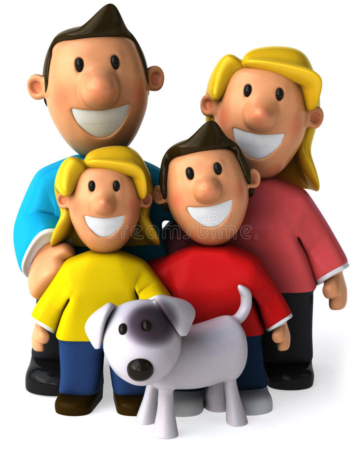 Family and dog stock illustration
