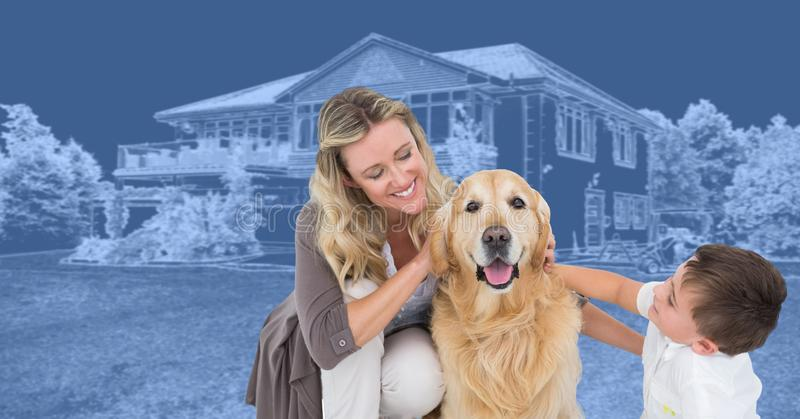 Family and dog in front of house drawing sketch. Digital composite of Family and dog in front of house drawing sketch stock photos