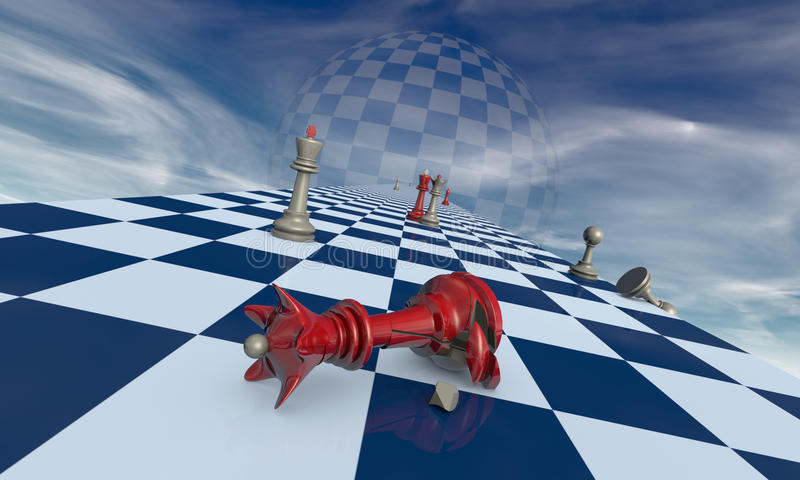 Family drama (chess metaphor). Broken red queen on a background of dramatic art vector illustration