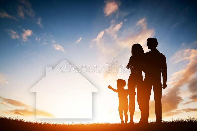 Family dream about a new house, home. Child, parents. vector illustration