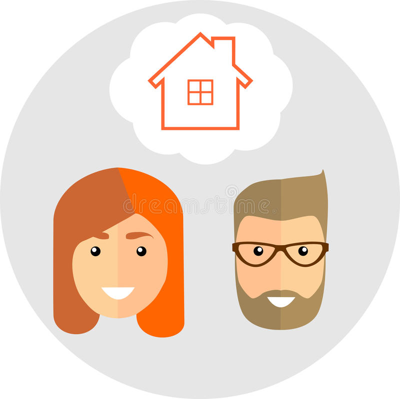 Family of dreams about the house. Flat Style. Fashionable man wi royalty free illustration